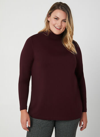 Long Sleeve Mock Neck Top, Purple,  turtleneck, long sleeves, stretchy, fall 2019, winter 2019