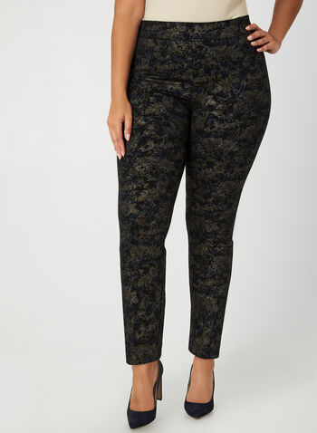 City Fit Paisley Print Pants, Black,  Canada, pants, City Fit, straight leg, paisley, scuba crepe, fall 2019, winter 2019