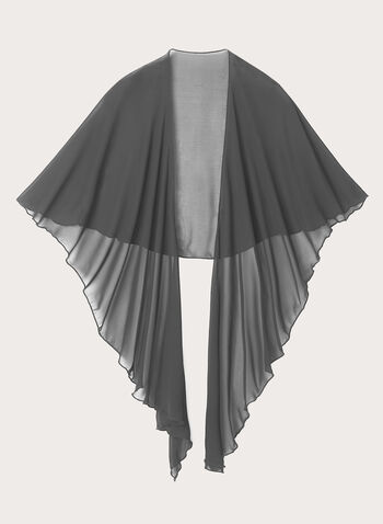 Sheer Chiffon Scarf , Grey, hi-res