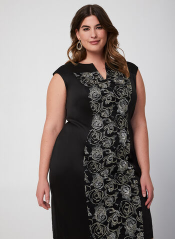 Embroidered Front Dress, Black, hi-res,  fall winter 2019, cocktail dress, cap sleeves, embroidery, sheath