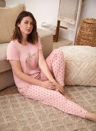 Polka Dot Print Pyjama Pants, Pink