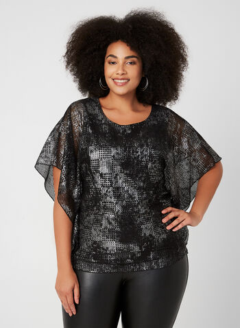 Compli K - Mesh Poncho Top, Black,  fall winter 2019, made in Canada, Jersey, mesh overlay,
