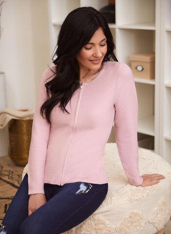 Cardigan zippé en tricot gaufré, Rose,  automne hiver 2020, cardigan, tricot, manches longues, gaufré, zip, glissière, perle