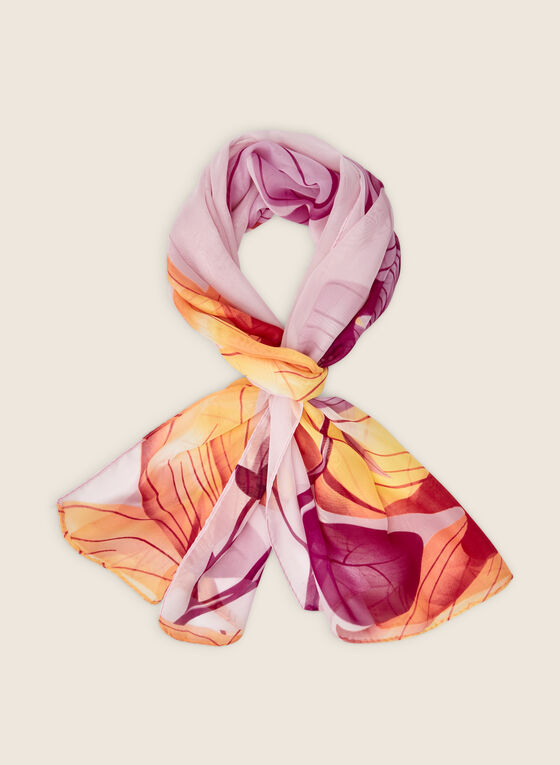 Oblong Floral Print Scarf, Red