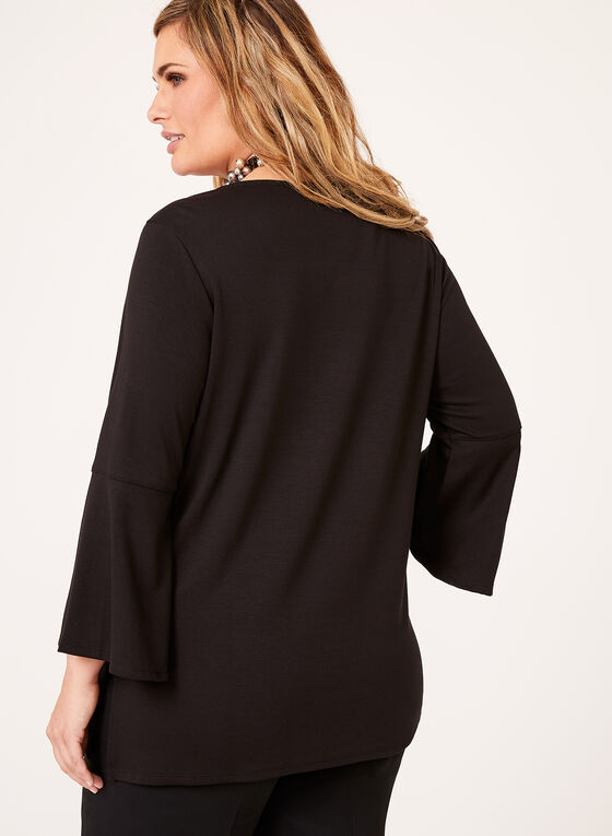 Linea Domani - Bell Sleeve Ponte Top , Black, hi-res