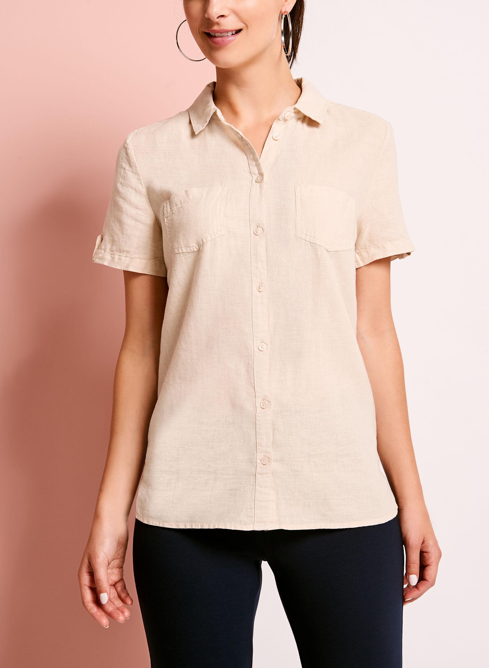 Short sleeve linen button down shirt laura for Best short sleeve button down shirts reddit