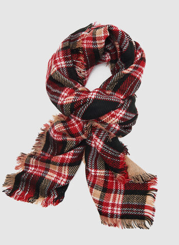 Floral Plaid Print Scarf	, Red, hi-res