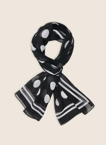 Foulard oblong léger motif pois, Noir,  foulard, oblong, léger, pois, printemps été 2020