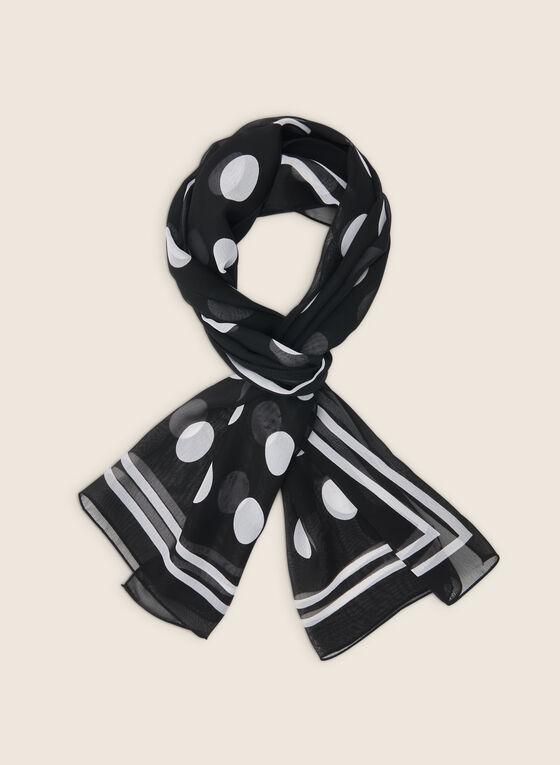 Foulard oblong léger motif pois, Noir
