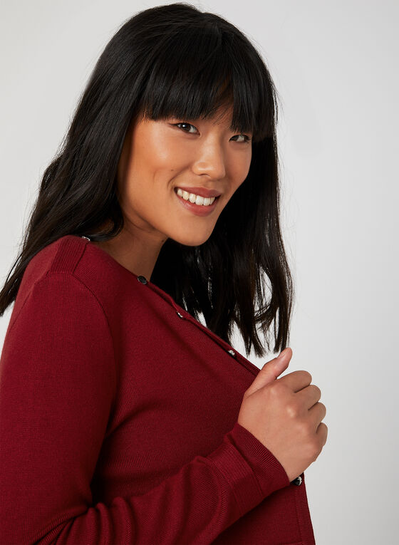 Long Sleeve Knit Cardigan, Red, hi-res