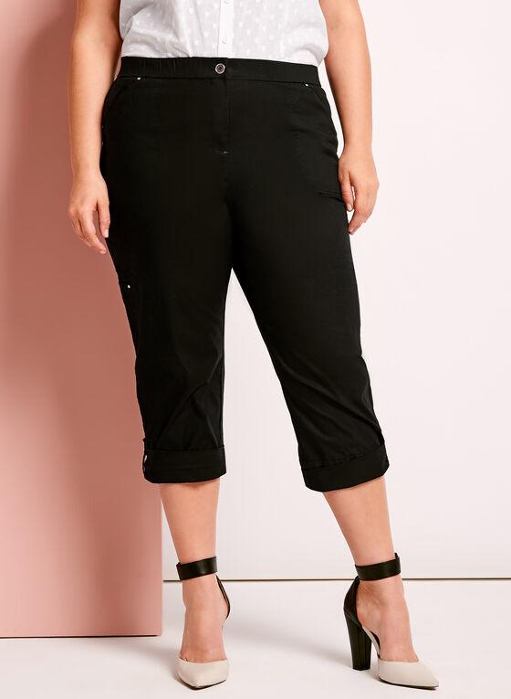 Modern Fit Capri Cargo Pants, Black, hi-res