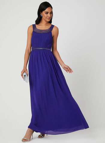 Beaded Empire Waist Gown, Blue, hi-res,  sleeveless, embellished collar, pleated, spring 2019