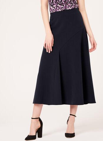 Long Flared Panel Skirt, Blue, hi-res
