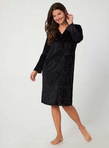 Hamilton - Velour Nightgown, Black, hi-res,  Canada, Hamilton, sleepwear, pyjama, velour, fall 2019, winter 2019