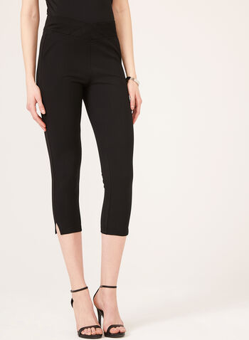 Straight Leg Pull-On Capri Pants, Black, hi-res