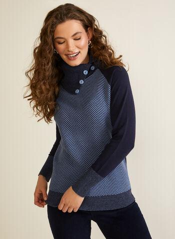 Herringbone Motif Split Collar Sweater, Blue,  top, knit, sweater, herringbone, split collar, colour block, long sleeves, fall winter 2020