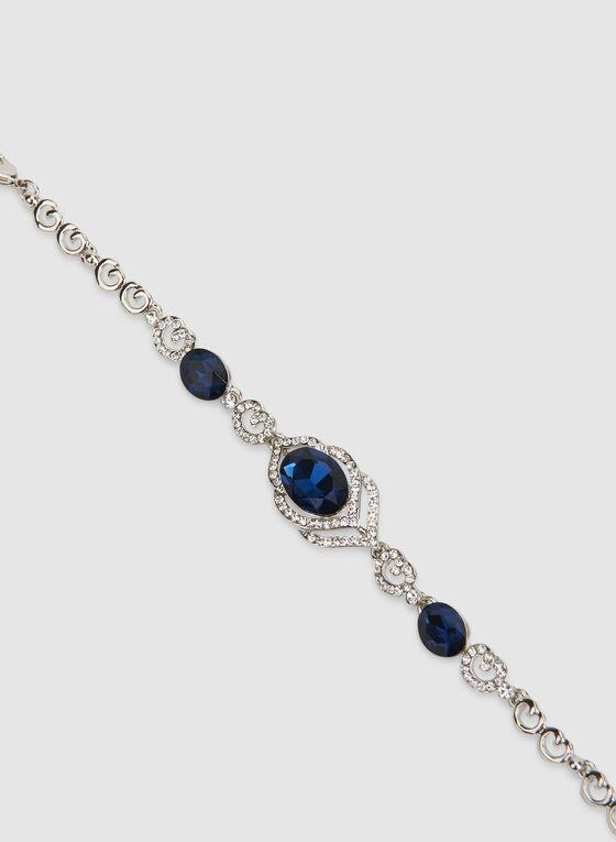 Bracelet à cristaux et pierres facettées, Bleu, hi-res
