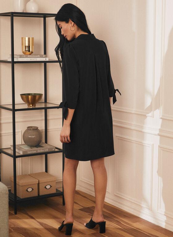 Shirt Collar Knot Detail Dress, Black