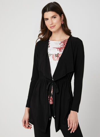 Jersey Tie Detail Top, Black, hi-res