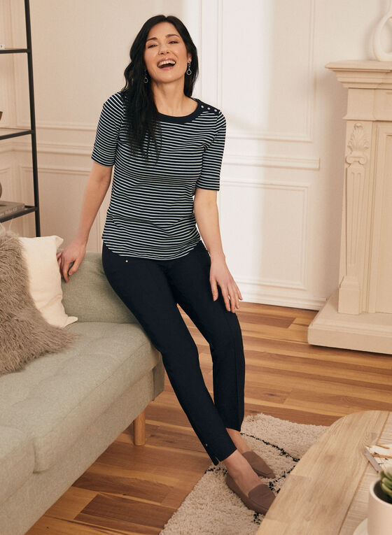 Elbow Sleeve Stripe Print T-Shirt, Blue