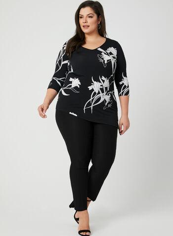 Floral Print Asymmetric Top, Black, hi-res