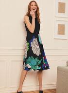 Monochrome & Floral Print Dress, Black