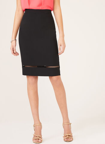 Crepe Pencil Skirt, Black, hi-res