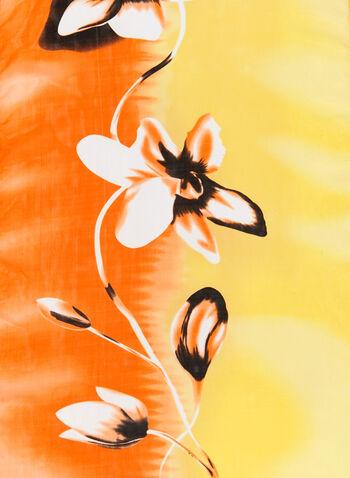 Foulard léger coloré et fleuri, Jaune, hi-res
