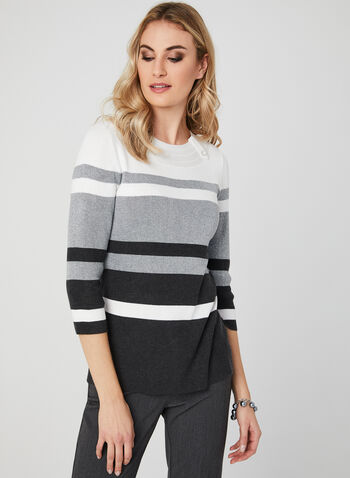 ¾ Sleeve Stripe Print Top, Grey, hi-res