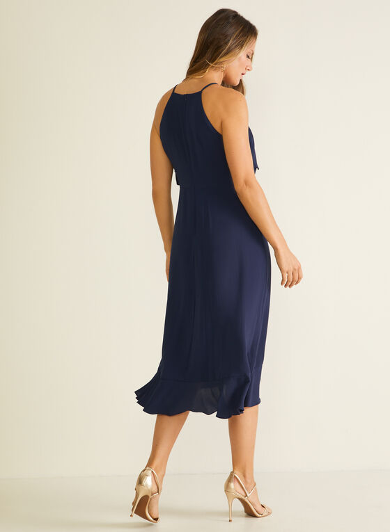 Cleo Neck Ruffle Detail Dress, Blue