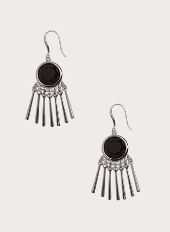 Stone Embellished Metal Bar Dangle Earrings, Black, hi-res
