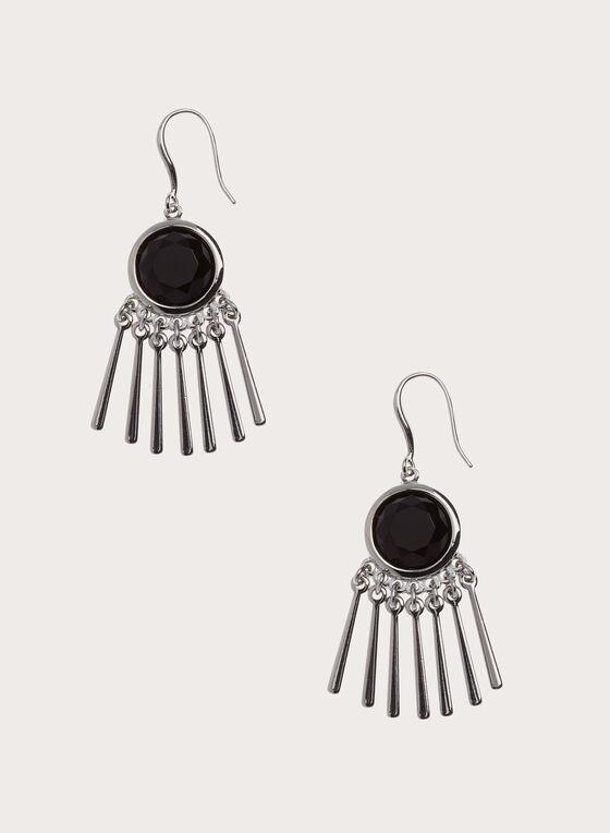 Stone Embellished Metal Bar Earrings, Black, hi-res