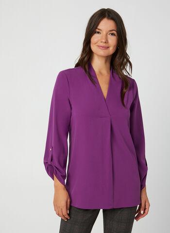 Crepe V-Neck Tunic Blouse, Purple,  v-neck, blouse, tunic, crepe, long sleeves, fall 2019, winter 2019