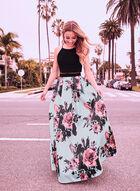 Floral Print Popover Dress, Black, hi-res