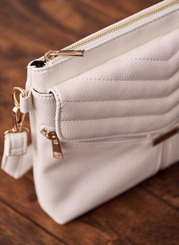 V Stitch Flap Crossbody Bag, White,  spring summer 2021, shoulder bag, crossbody, accessories, bag, purse, stitching, flap over, flap, pockets, adjustable strap, leather