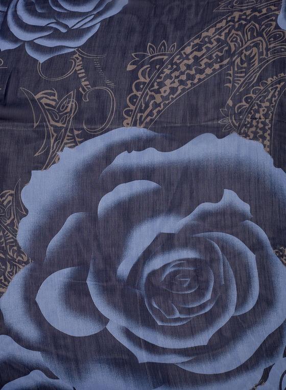Foulard à motif floral, Bleu, hi-res