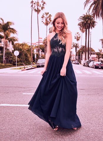 Illusion Bodice Chiffon Dress, Blue, hi-res
