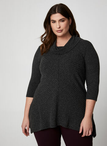 Asymmetrical Knit Tunic, Grey,  tunic, cowl neck, 3/4 sleeves, made in canada, asymmetrical hemline, knit, fall winter 2019