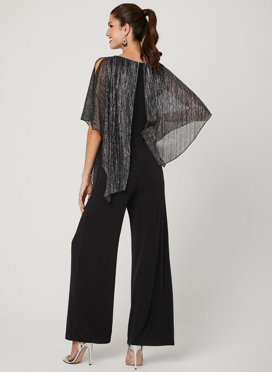 Metallic Poncho Jumpsuit, Black, hi-res