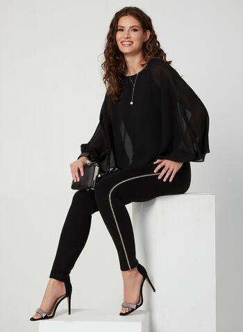 Blouse poncho en mousseline de soie, Noir,  blouse, poncho, mousseline, poignets ornementés, doublure sans manches, automne hiver 2019