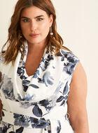 Joseph Ribkoff - Floral Print Cowl Neck Dress, White