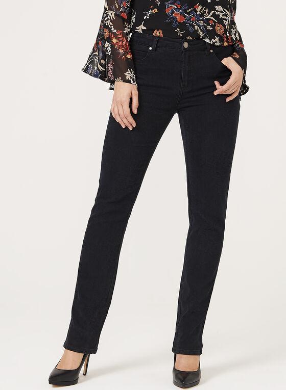 Simon Chang - Rose Print Signature Fit Slim Leg Jeans, Black, hi-res