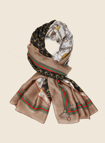 Chain Print Lightweight Scarf, Brown,  scarf, lightweight, chain print, chiffon, fall winter 2020