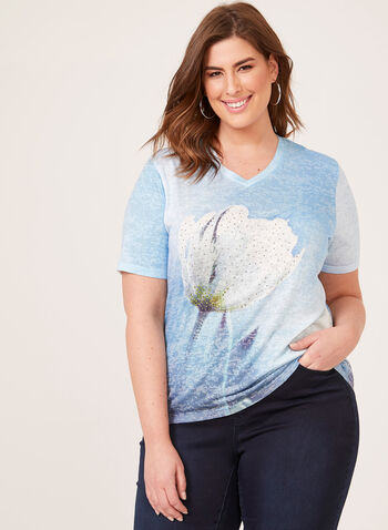 T-shirt à motif floral placé et détails cristaux, Bleu, hi-res