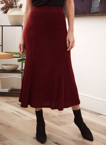 Textured Midi Skirt, Red,  Fall winter 2020, skirt, a-line, flare, texture, made in canada, stretch