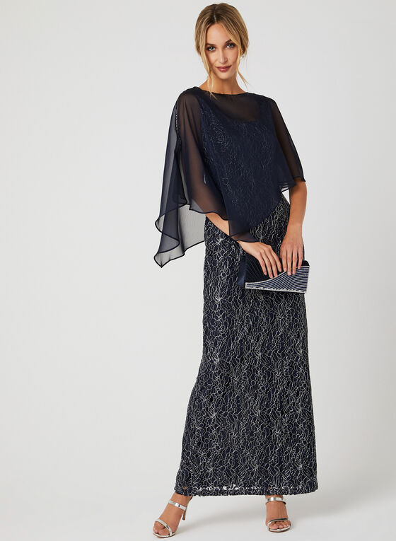 Robe en dentelle métallisée avec poncho, Bleu, hi-res