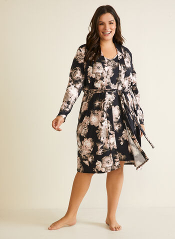 Floral Print Robe & Nightshirt, Black,  sleepwear, robe, nightshirt, floral print, fall winter 2020