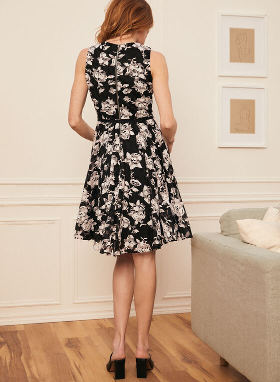 Robe cintrée et évasée à motif floral  , Noir