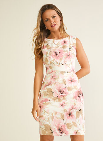 Floral Print Tiered Sheath Dress, Pink,  day dress, sleeveless, floral, tiered, sheath, scoop neck, spring summer 2020