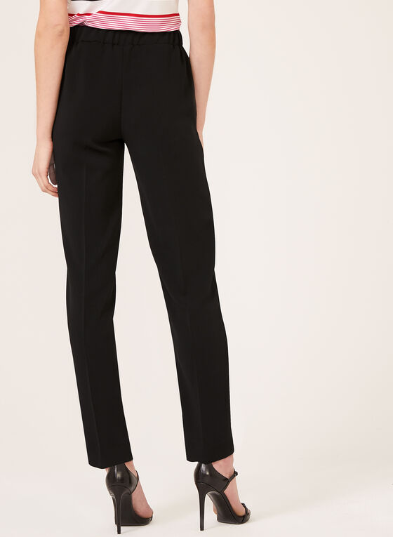 Straight Leg Pull-On Pants, Black, hi-res